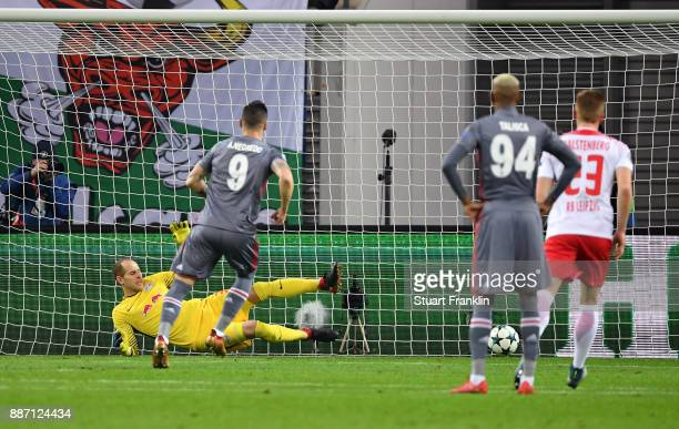 Alvaro Negredo of Besiktas scores his sides first goal from the penalty spot during the UEFA Champions League group G match between RB Leipzig and...