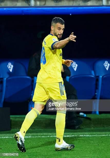 Alvaro Negredo of Cadiz CF celebrates after scoring goal during the La Liga Santander match between SD Eibar and Cadiz CF at Estadio Municipal de...