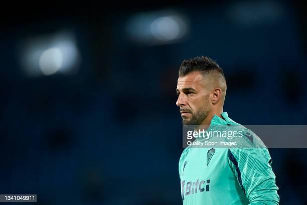 Alvaro Negredo of Cadiz CF looks on prior to the La Liga Santander match between RC Celta de Vigo and Cadiz CF at Abanca Balaidos Stadium on...