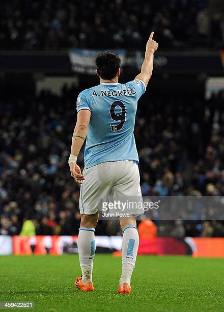 Alvaro Negredo of Manchester City celebrates after scoing the second during the Barclays Premier League match between Manchester United and Liverpool...