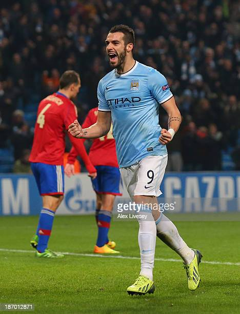 Alvaro Negredo of Manchester City celebrates after scoring his team's fifth goal to complete his hattrick during the UEFA Champions League Group D...