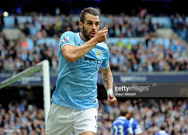 Alvaro Negredo of Manchester City celebrates after scoring to level the scores at 11 during the Barclays Premier League match between Manchester City...