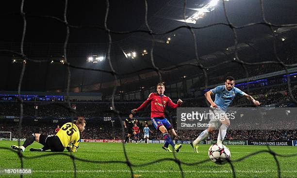 Alvaro Negredo of Manchester City celebrates scores the third goal during the UEFA Champions League Group D match between Manchester City and CSKA...