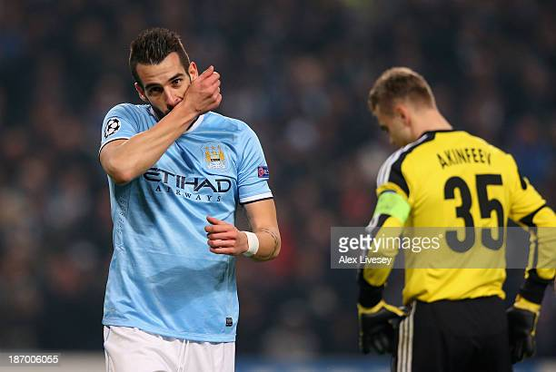 Alvaro Negredo of Manchester City celebrates scoring the fourth goal during the UEFA Champions League Group D match between Manchester City and CSKA...