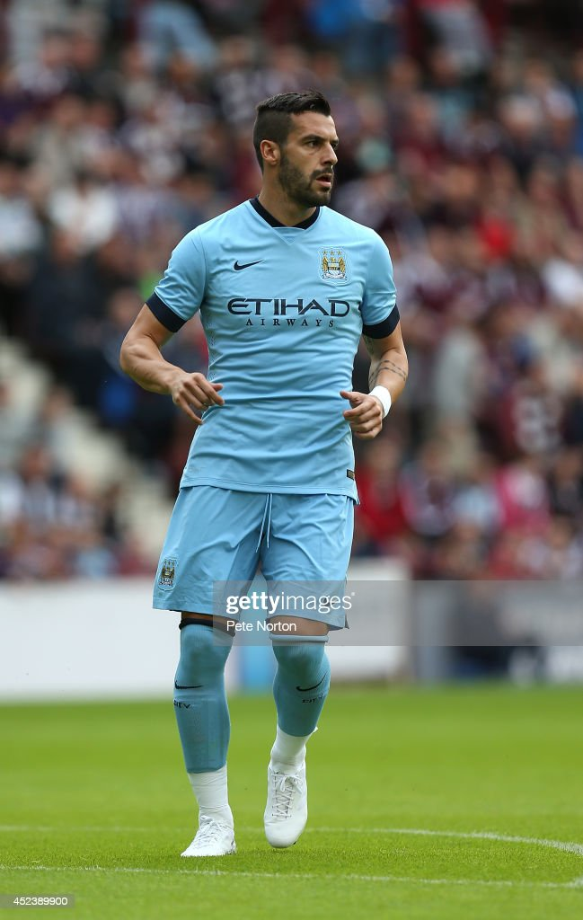 Alvaro Negredo of Manchester City in action during the Pre Season Friendly match between Hearts and Manchester City at Tyncastle Stadium on July 18, 2014 in Edinburgh, Scotland.