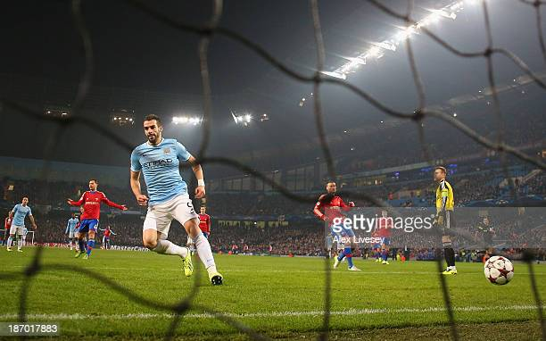 Alvaro Negredo of Manchester City scores the fourth goal during the UEFA Champions League Group D match between Manchester City and CSKA Moscow at...