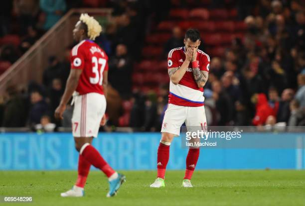 Alvaro Negredo of Middlesbrough and team mate Adama Traore look dejected in defeat after during the Premier League match between Middlesbrough and...