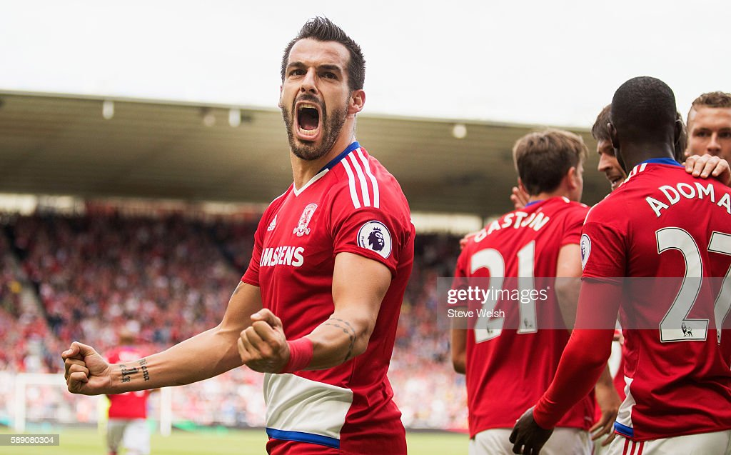 Alvaro Negredo of Middlesbrough celebrates scoring his sides first goal during the Premier League match between Middlesbrough and Stoke City at Riverside Stadium on August 13, 2016 in Middlesbrough, England.