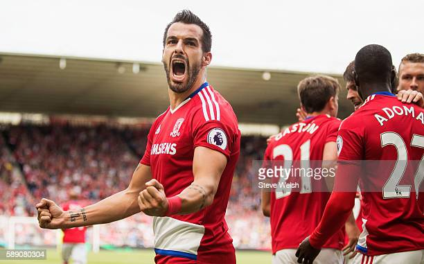 Alvaro Negredo of Middlesbrough celebrates scoring his sides first goal during the Premier League match between Middlesbrough and Stoke City at...