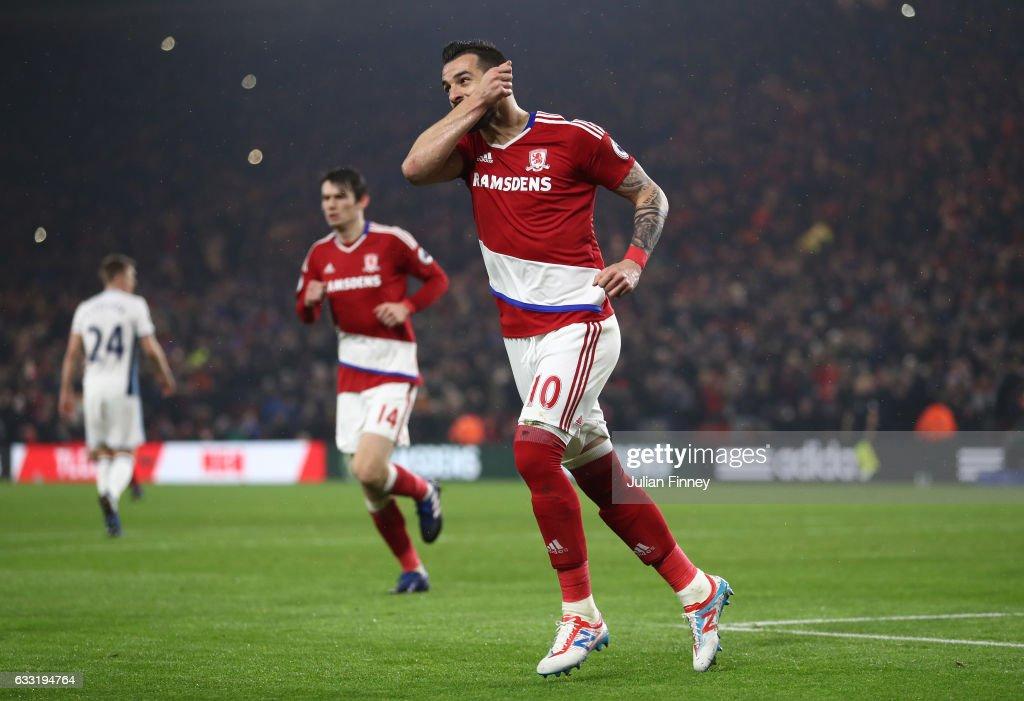 Alvaro Negredo of Middlesbrough celebrates scoring his side's first goal to make it 1-1 from the penalty spot during the Premier League match between Middlesbrough and West Bromwich Albion at Riverside Stadium on January 31, 2017 in Middlesbrough, England.