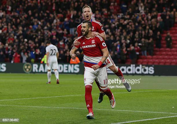 Alvaro Negredo of Middlesbrough celebrates scoring his sides second goal with Adam Forshaw of Middlesbrough during the Premier League match between...