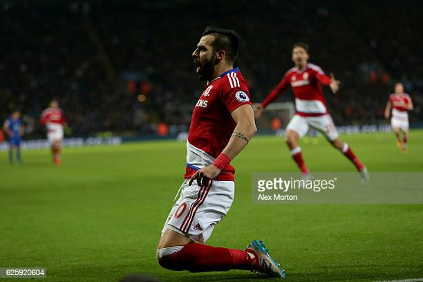 Alvaro Negredo of Middlesbrough celebrates scoring his team's second goal during the Premier League match between Leicester City and Middlesbrough at...