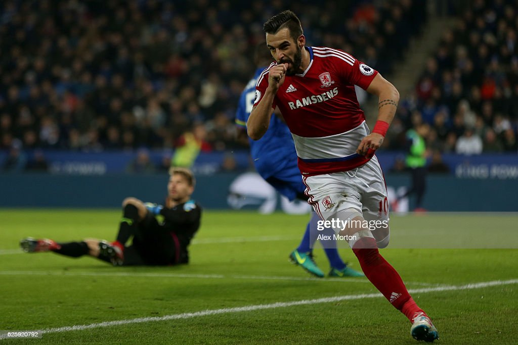 Alvaro Negredo of Middlesbrough celebrates scoring his team's second goal during the Premier League match between Leicester City and Middlesbrough at The King Power Stadium on November 26, 2016 in Leicester, England.