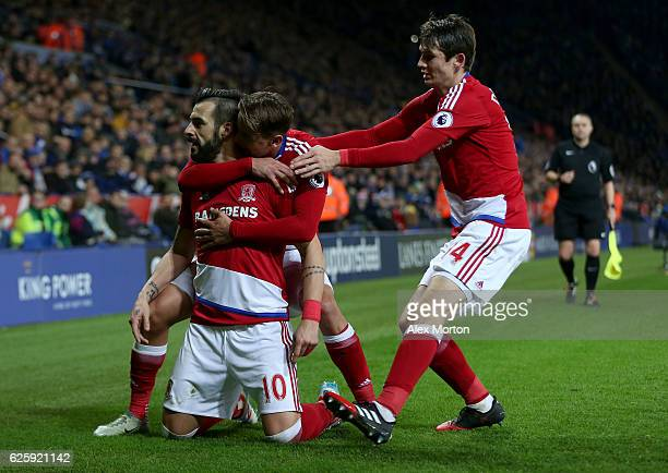 Alvaro Negredo of Middlesbrough celebrates scoring his team's second goal with his team mates Gaston Ramirez and Marten de Roon during the Premier...
