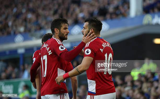 Alvaro Negredo of Middlesbrough celebrates with Antonio Barragan of Middlesbrough during the Premier League match between Everton and Middlesbrough...