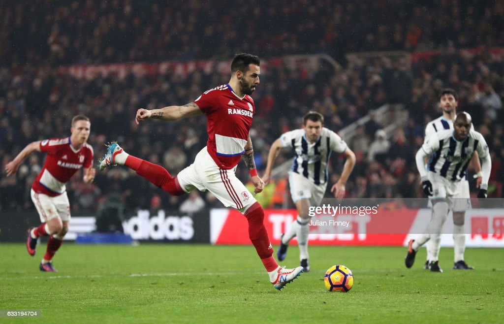 Alvaro Negredo of Middlesbrough converts the penalty to score his side's first goal to make it 1-1 during the Premier League match between Middlesbrough and West Bromwich Albion at Riverside Stadium on January 31, 2017 in Middlesbrough, England.