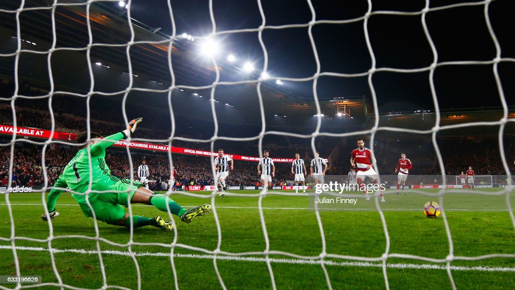 Alvaro Negredo of Middlesbrough converts the penalty to score his side's first goal during the Premier League match between Middlesbrough and West Bromwich Albion at Riverside Stadium on January 31, 2017 in Middlesbrough, England.