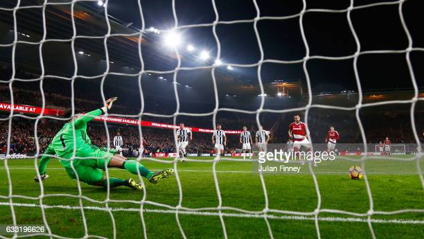 Alvaro Negredo of Middlesbrough converts the penalty to score his side's first goal during the Premier League match between Middlesbrough and West...