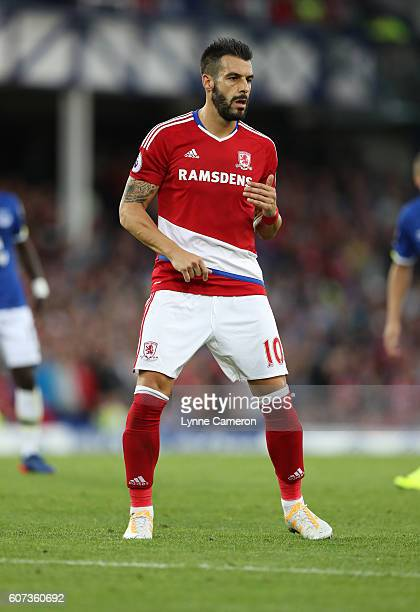 Alvaro Negredo of Middlesbrough during the Premier League match between Everton and Middlesbrough at Goodison Park on September 17 2016 in Liverpool...