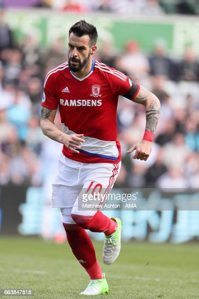 Alvaro Negredo of Middlesbrough during the Premier League match between Swansea City and Middlesbrough at Liberty Stadium on April 2 2017 in Swansea...