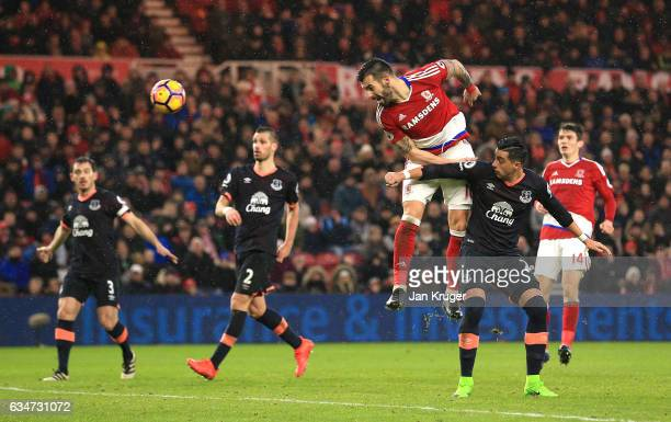 Alvaro Negredo of Middlesbrough heads the ball during the Premier League match between Middlesbrough and Everton at Riverside Stadium on February 11...