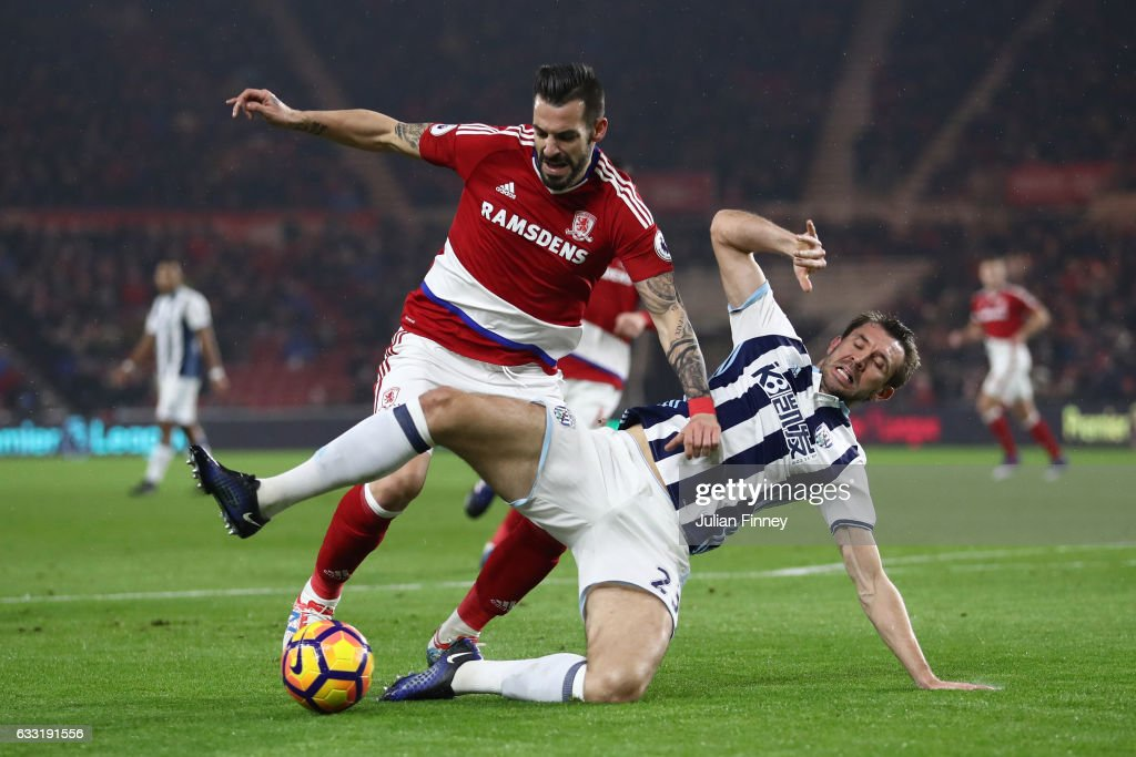 Alvaro Negredo of Middlesbrough is challenged by Gareth McAuley of West Bromwich Albion in the box resulting in a penalty to Middlesbrough during the Premier League match between Middlesbrough and West Bromwich Albion at Riverside Stadium on January 31, 2017 in Middlesbrough, England.