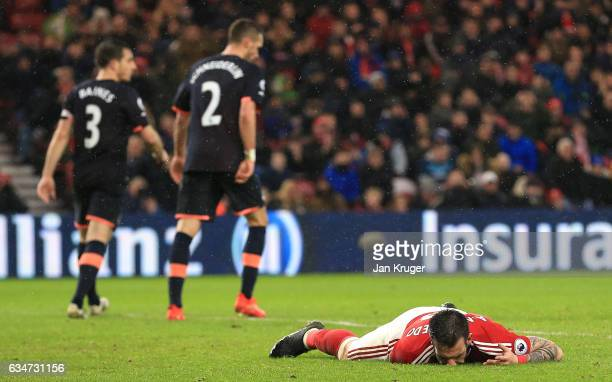 Alvaro Negredo of Middlesbrough reacts after missing a chance during the Premier League match between Middlesbrough and Everton at Riverside Stadium...