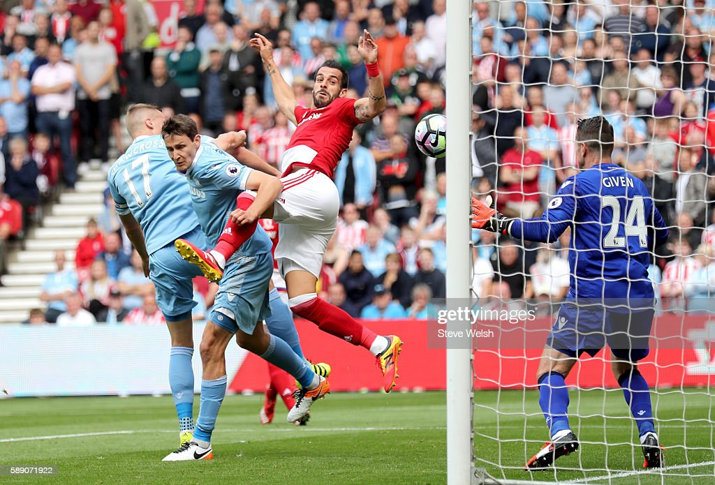 Alvaro Negredo of Middlesbrough scores his sides first goal during the Premier League match between Middlesbrough and Stoke City at Riverside Stadium on August 13, 2016 in Middlesbrough, England.