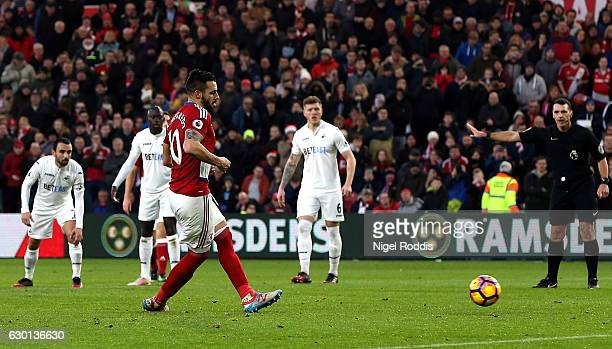 Alvaro Negredo of Middlesbrough scores his sides second goal from the penalty spot during the Premier League match between Middlesbrough and Swansea...