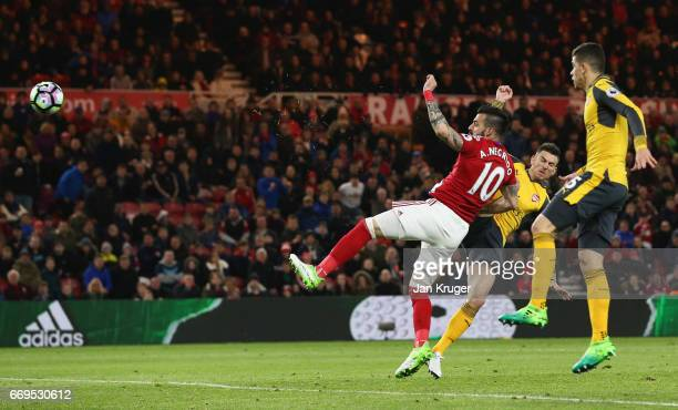 Alvaro Negredo of Middlesbrough scores their first goal during the Premier League match between Middlesbrough and Arsenal at Riverside Stadium on...