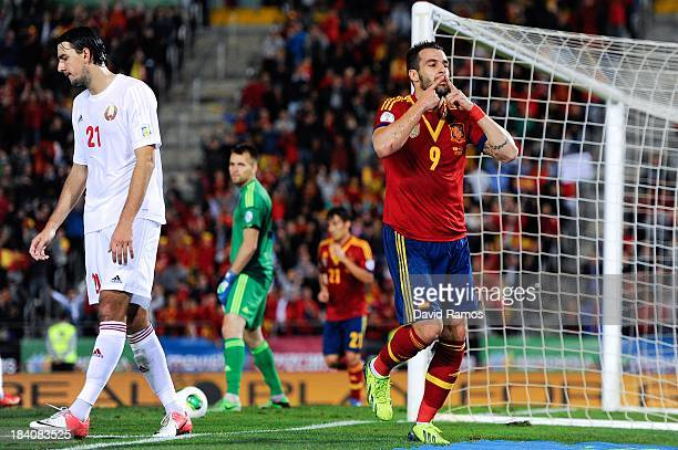 Alvaro Negredo of Spain celebrates after scoring his team's second goal during the FIFA 2014 World Cup Qualifier match between Spain and Belarus at...