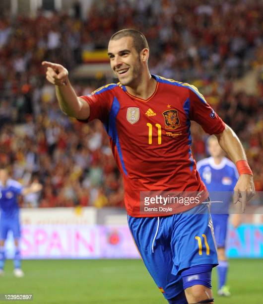 Alvaro Negredo of Spain celebrates after scoring Spain's 2nd goal during the EURO 2012 Qualifier match between Spain and Liechtenstein at estadio Las...