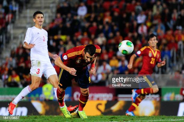 Alvaro Negredo of Spain scores his team's second goal during the FIFA 2014 World Cup Qualifier match between Spain and Belarus at Iberostars Stadium...