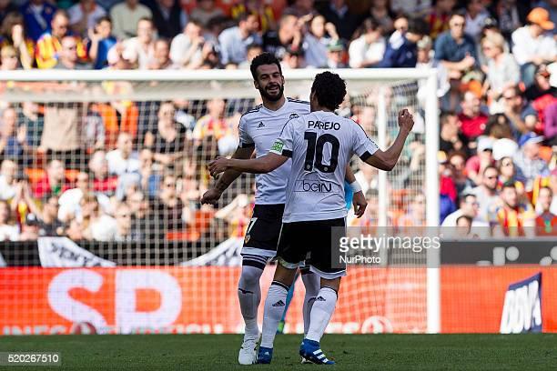 07 Alvaro Negredo of Valencia CF and 10 Dani Parejo of Valencia CF celebrates during La Liga match between Valencia CF and Sevilla CF at Mestalla...