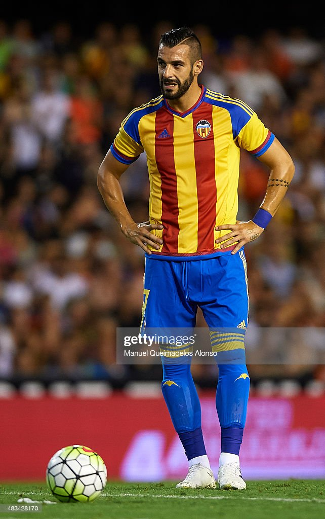 Alvaro Negredo of Valencia reacts during the pre-season friendly match between Valencia CF and AS Roma at Estadio Mestalla on August 8, 2015 in Valencia, Spain.