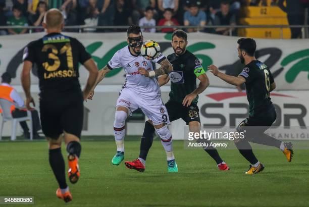 Alvaro Negredo Sanchez of Besiktas in action during the Turkish Super Lig soccer match between Teleset Mobilya Akhisarspor and Besiktas at Spor Toto...