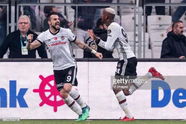Alvaro Negredo Sanchez of Besiktas JK , Anderson Souza Conceicao of Besiktas JK during the Turkish Spor Toto Super Lig football match between...