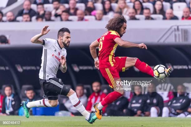 Alvaro Negredo Sanchez of Besiktas JK Sadik Çiftpinar of Evkur Yeni Malatyaspor during the Turkish Spor Toto Super Lig football match between...