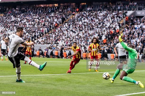 Alvaro Negredo Sanchez of Besiktas JK scores during the Turkish Spor Toto Super Lig football match between Besiktas JK and Evkur Yeni Malatyaspor on...