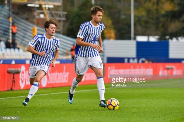 Alvaro Odriozola and Adnan Januzaj of Real Sociedad during the Spanish league football match between Real Sociedad and U D Las Palmas at the Anoeta...