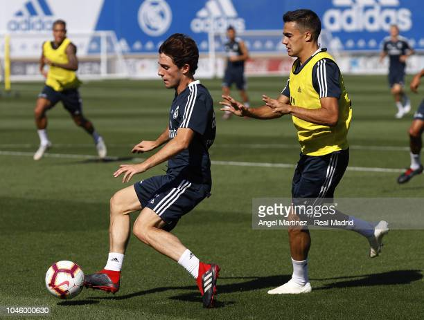 Alvaro Odriozola and Sergio Reguilon of Real Madrid in action during a training session at Valdebebas training ground on October 5 2018 in Madrid...