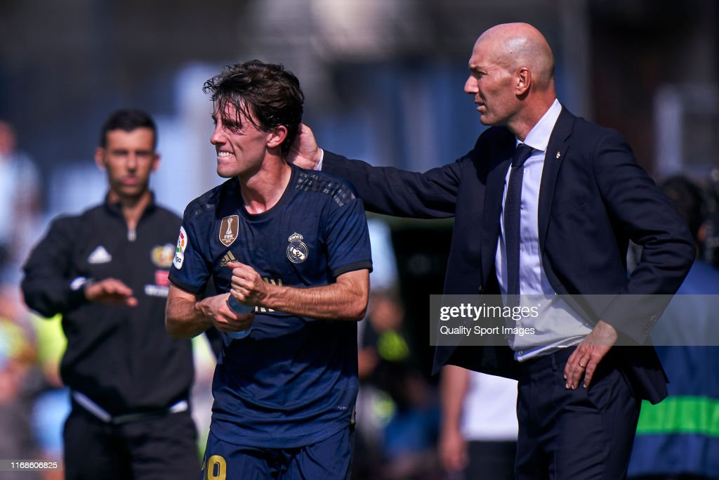 Alvaro Odriozola and Zinedine Zidane, Manager of RealMadrid CF in ...