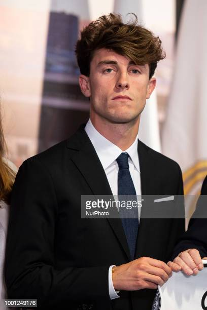 Alvaro Odriozola during his presentation as new Real Madrid player at Santiago Bernabéu Stadium in Madrid Spain July 18 2018