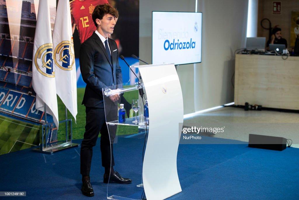 Alvaro Odriozola during his presentation as new Real Madrid player at Santiago Bernabéu Stadium in Madrid, Spain. July 18, 2018.
