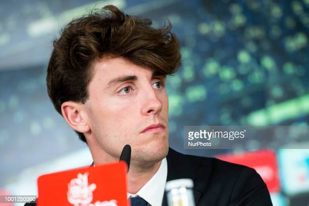 Alvaro Odriozola during the press conference of his presentation as new Real Madrid player at Santiago Bernabéu Stadium in Madrid Spain July 18 2018
