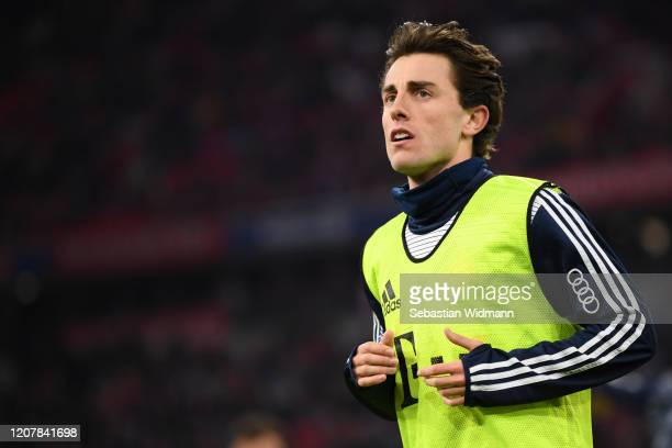 Alvaro Odriozola of Bayern Muenchen looks on prior to the Bundesliga match between FC Bayern Muenchen and SC Paderborn 07 at Allianz Arena on...