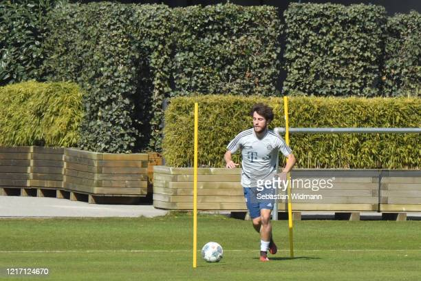 Alvaro Odriozola of Bayern Muenchen plays the ball during a training session at Saebener Strasse training ground on April 06 2020 in Munich Germany
