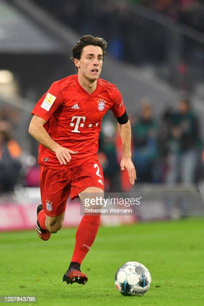Alvaro Odriozola of Bayern Muenchen plays the ball during the Bundesliga match between FC Bayern Muenchen and SC Paderborn 07 at Allianz Arena on...