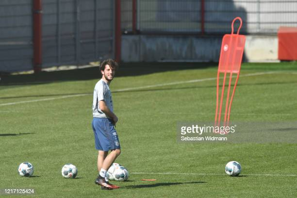 Alvaro Odriozola of Bayern Muenchen smiles during a training session at Saebener Strasse training ground on April 06 2020 in Munich Germany