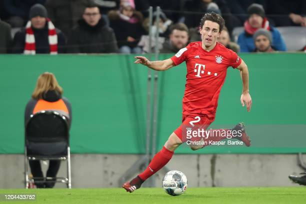 Alvaro Odriozola of FC Bayern Muenchen in action during the DFB Cup round of sixteen match between FC Bayern Muenchen and TSG 1899 Hoffenheim at...